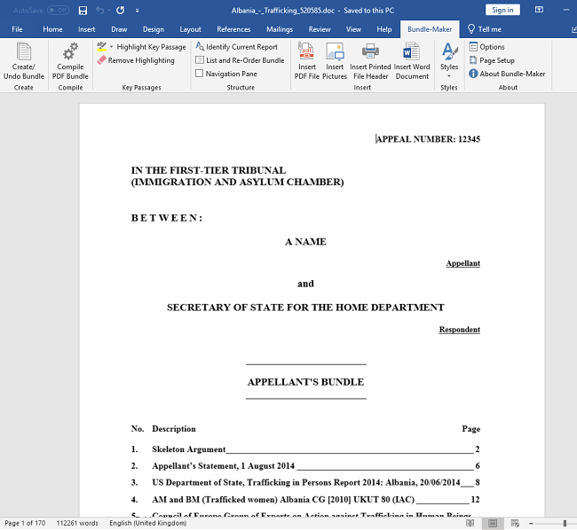 Creating A Fully Paginated And Indexed Bundle In Microsoft Word - Legal document maker
